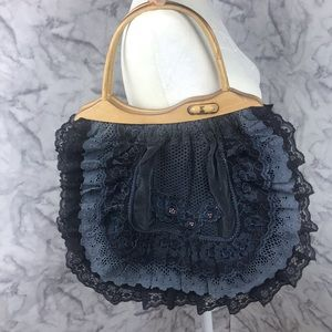 Blue Lace Wooden Handle Bucket Bag